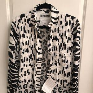 Moschino black and white animal print shirt